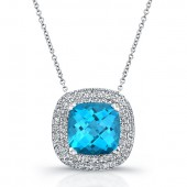 Sterling Silver Diamond Blue Topaz Pendant