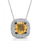 Black Sterling Silver Diamond Citrine Pendant