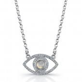 Sterling Silver Diamond and Moonstone Evil Eye Necklace