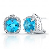 Sterling Silver Blue Topaz Diamond Halo Earrings