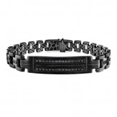 Black Sterling Silver Black Diamond Mens ID Link Bracelet