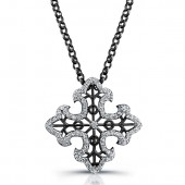 Black Sterling Silver Diamond Cross Pendant