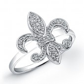 Sterling Silver Diamond Fleur De Lys Ring