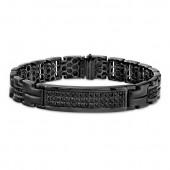 Black Sterling Silver Black Diamond Mens ID Link Bracelet