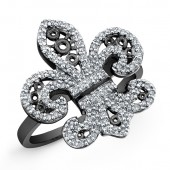 Black Sterling Silver Diamond Fleur De Lys Ring