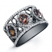 Sterling Black and White Silver Fashion Band with Smokey Quartz and White Diamonds