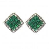 Emerald and Diamond Studs
